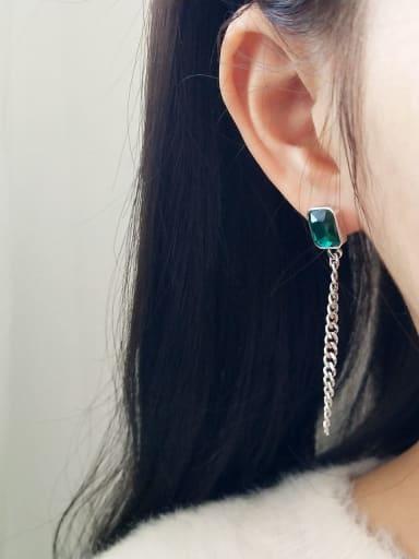 925 Sterling Silver Green Diamond N Chain Tassel Minimalist Threader Earring