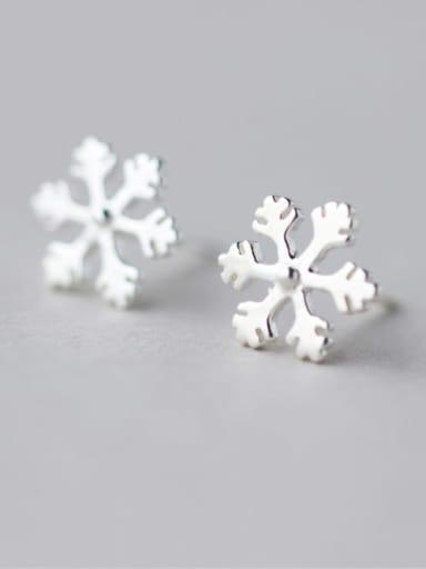 925 Sterling Silver  Minimalist  Cute snowflake Stud Earring