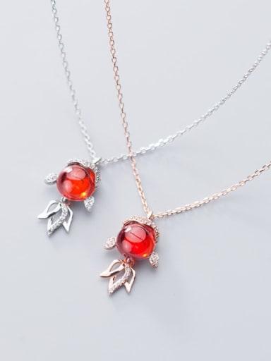 925 Sterling Silver Garnet red goldfish Pendant Necklace