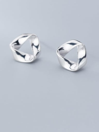 925 Sterling Silver Irregular Minimalist Stud Earring