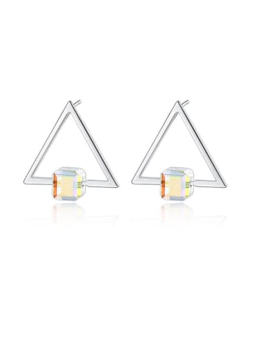 white 925 Sterling Silver Cubic Zirconia Triangle Minimalist Stud Earring