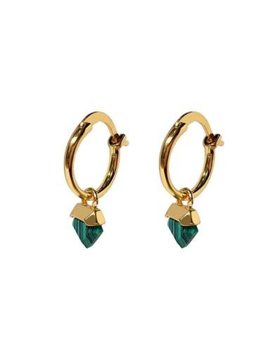 Copper Glass stone Triangle Dainty Huggie Earring