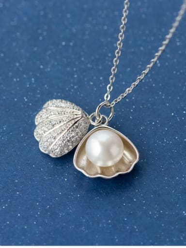 925 Sterling Silver Imitation Pearl Geometric Dainty Necklace