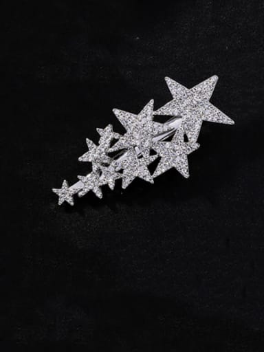 B patinum Zinc Alloy Rhinestone White Star Statement Barrettes & Clips