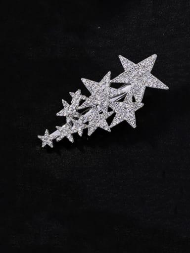 B patinum Zinc Alloy Rhinestone White Star Statement Barrettes & Clips