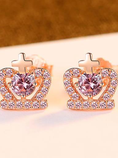 Rose gold 24g03 925 Sterling Silver Cubic Zirconia Purple Crown Cute Stud Earring