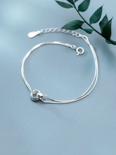 925 Sterling Silver Minimalist Round  Strand Bracelet