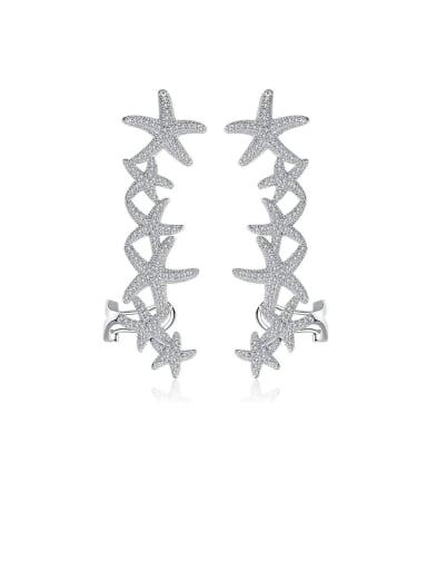 Copper Cubic Zirconia  Dainty starfish Drop Earring