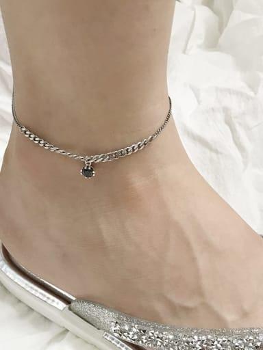 925 Sterling Silver Black   Cubic Zirconia  Vintage China  Anklet