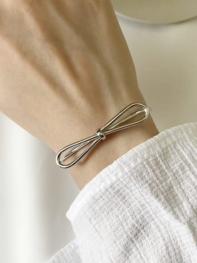 925 Sterling Silver Bowknot Trend Cuff Bangle