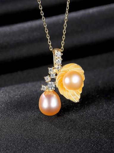 Pink 7a11 925 Sterling Silver Imitation Pearl Leaf Vintage Necklace