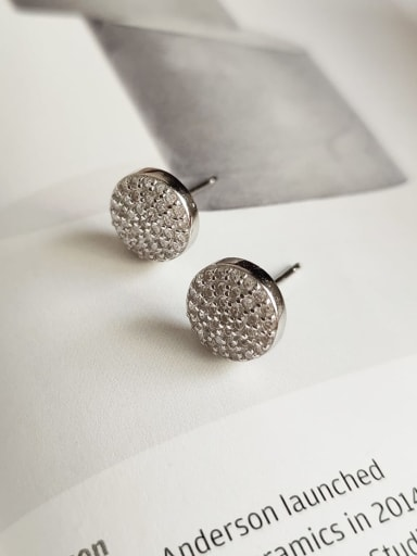 925 Sterling Silver Cubic Zirconia White Round Minimalist Stud Earring