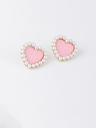 A Pink Zinc Alloy Imitation Pearl White Heart Minimalist Stud Earrings