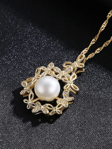 White 5E04 925 Sterling Silver Freshwater Pearl Zircon flower pendant Necklace
