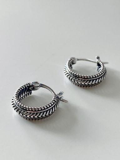 925 Sterling Silver Vintage Irregular Twist  Drop Earring