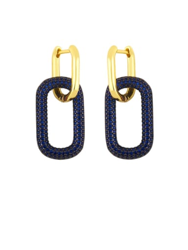 blue Brass Rhinestone Geometric Vintage Drop Earring