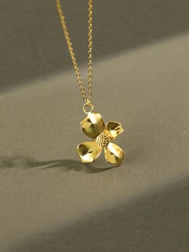 925 Sterling Silver Clover Vintage  Pendant Necklace