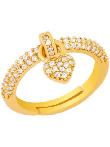 love Copper Cubic Zirconia Heart Dainty Midi Ring