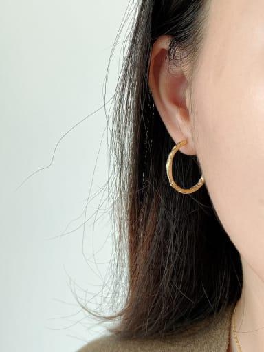 925 Sterling Silver Artisan Hoop Earring