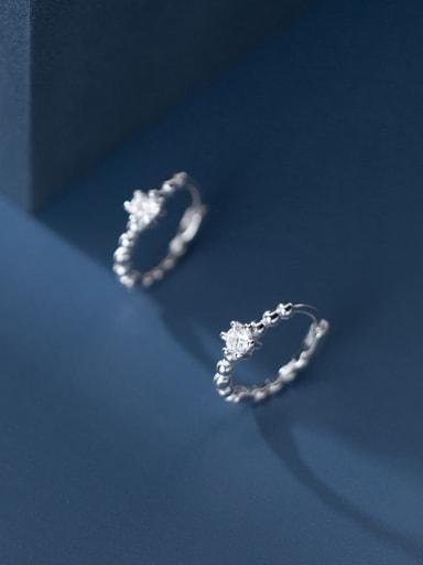 925 Sterling Silver Rhinestone Round Minimalist Huggie Earring