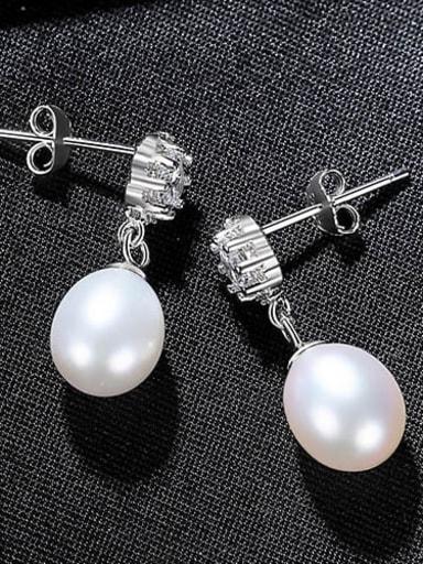 White 4i12 925 Sterling Silver Freshwater Pearl Flower Vintage Drop Earring