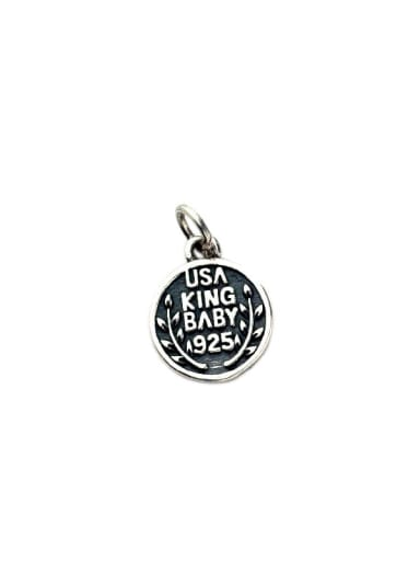 Vintage Sterling Silver With Minimalist Letter Round Pendant Diy Accessories