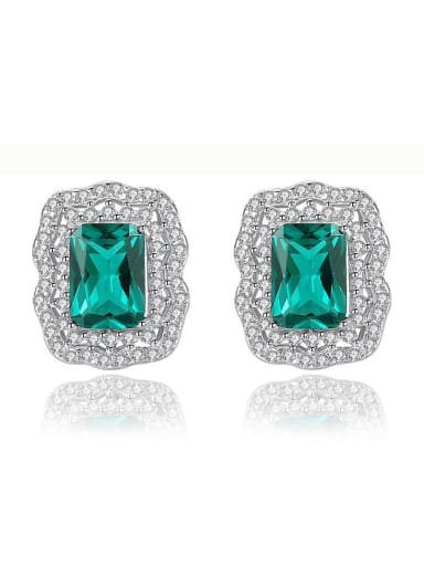 925 Sterling Silver Classic Square Cubic Zirconia   Stud Earring