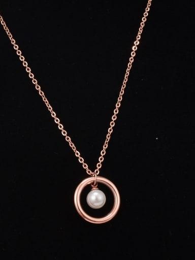 Titanium Hollow Round  Imitation Pearl Necklace
