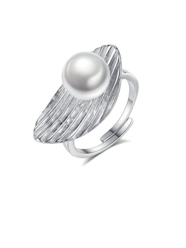 925 Sterling Silver Freshwater Pearl White Leaf Trend Band Ring