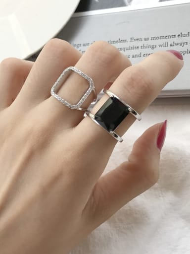 925 Sterling Silver Cubic Zirconia  Square Minimalist Free Size Band Ring