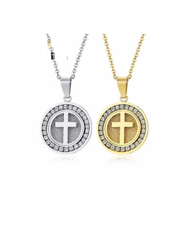 Titanium Rhinestone White Cross Minimalist Necklaces