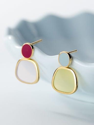 925 silver Minimalist   asymmetric candy Oval Earrings