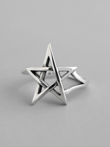 925 Sterling Silver minimalist hollow Pentagram Free Size Ring