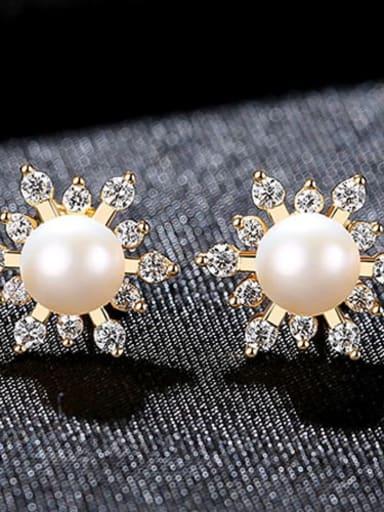 18K 4G11 925 Sterling Silver Freshwater Pearl Flower Trend Stud Earring