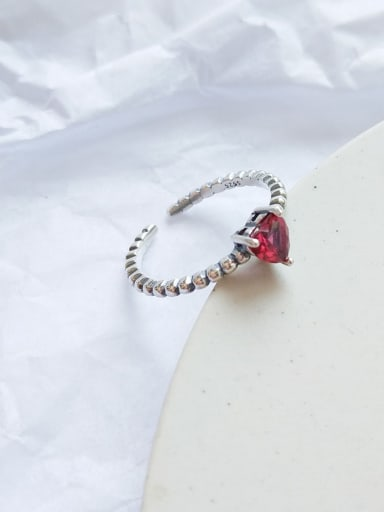 925 Sterling Silver Cubic Zirconia Red Heart Vintage Free Size Midi Ring