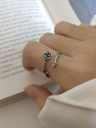 925 Sterling Silver Rose Ring With Thorns Minimalist Free Size Band Ring