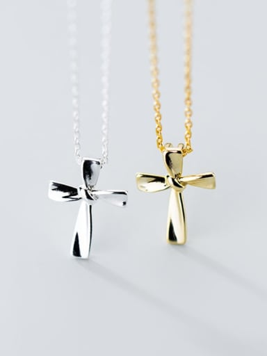 925 Sterling Silver Smooth Cross Minimalist Regligious Necklace