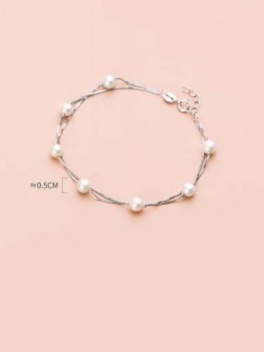 925 Sterling Silver Imitation Pearl Round Minimalist Link Bracelet
