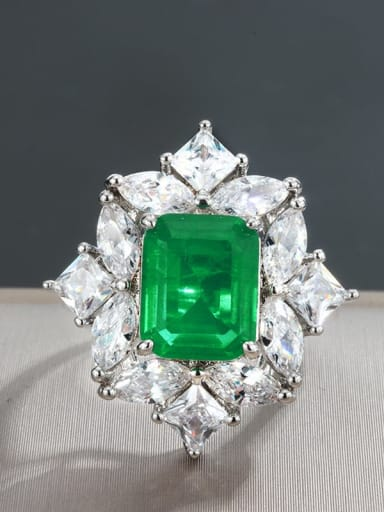 Emerald Ring Copper Cubic Zirconia Flower Statement Statement Ring