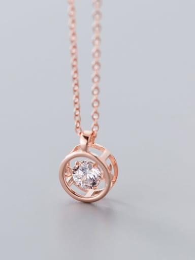 925 Sterling Silver Cubic Zirconia Round  Necklace