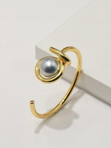 Golden Grey Pearl Copper Imitation Pearl White Irregular Minimalist Adjustable Bracelet