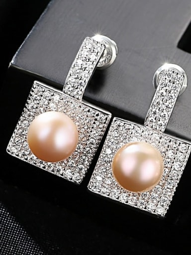 Pink 1F16 925 Sterling Silver Cubic Zirconia Square Trend Stud Earring