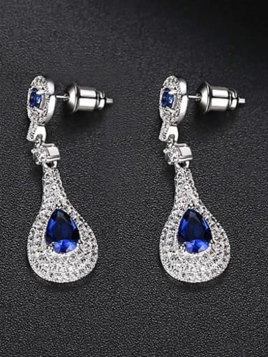 Sapphire t02b09 Copper Cubic Zirconia Geometric Dainty Drop Earring