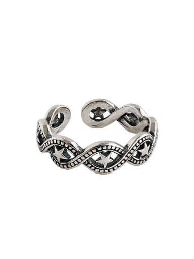 925 Sterling Silver Star Vintage Free Size Band Ring