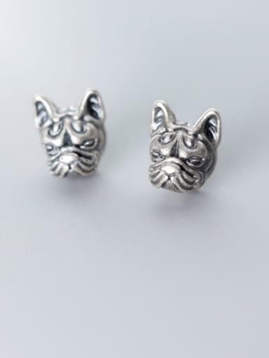 925 Sterling Silver Lion Vintage Stud Earring