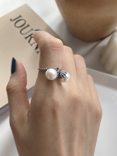 925 Sterling Silver Freshwater Pearl Vintage Bead Ring
