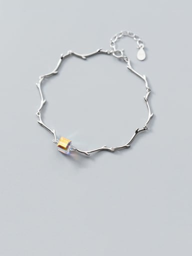 925 Sterling Silver Yellow Crystal  Minimalist Personality branch  Bracelet