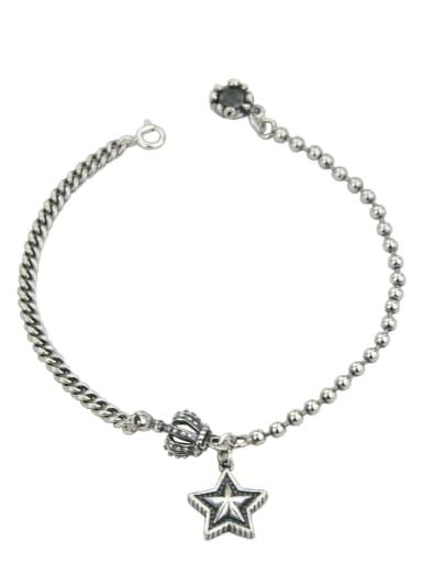 Vintage Sterling Silver With Antique Silver Plated Vintage Crown Pentagram Bracelets