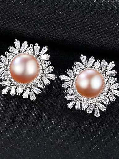 Purple 1K03 925 Sterling Silver Freshwater Pearl White Flower Trend Stud Earring