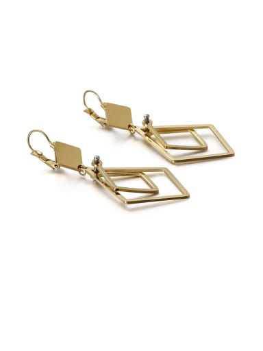 gold Stainless Steel Hollow Geometric Minimalist Drop Earring